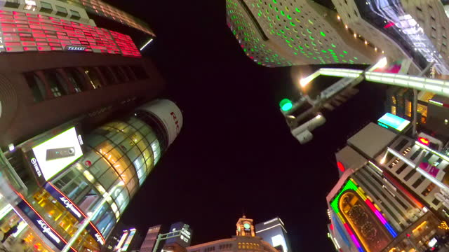 driving ginza street at night, tokyo, japan. look up and roll. - plusphoto stock videos & royalty-free footage