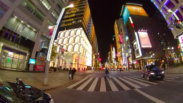 driving ginza street at night, tokyo, japan. - ginza stock videos & royalty-free footage