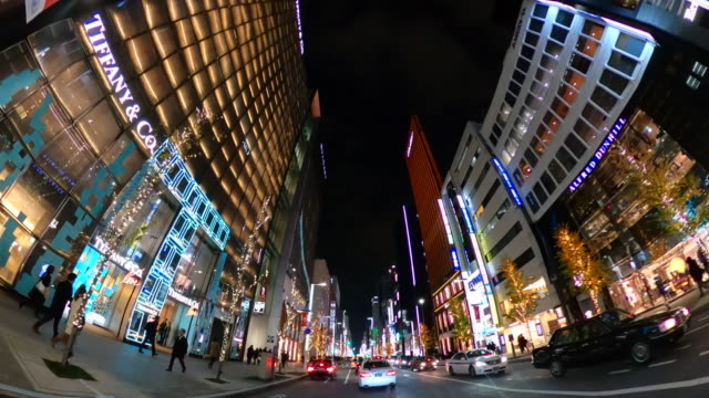driving ginza street at night - cross section stock videos & royalty-free footage
