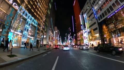 vídeos y material grabado en eventos de stock de conducir por la calle ginza por la noche - vehículo terrestre