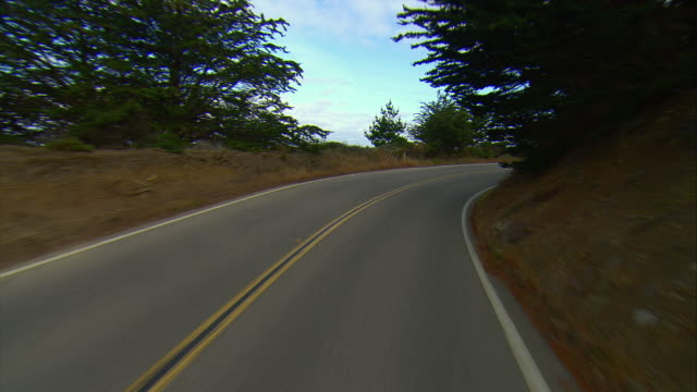 POV Driving Highway U.S. 1 in Los Padres National Forest, Gorda, California, USA