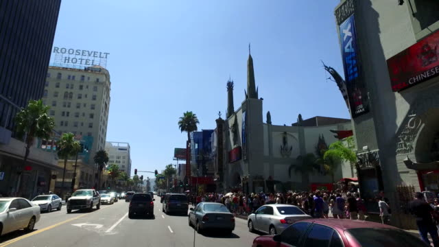 Driving Hollywood Boulevard by Grauman's Chinese Theatre 4K Transportation