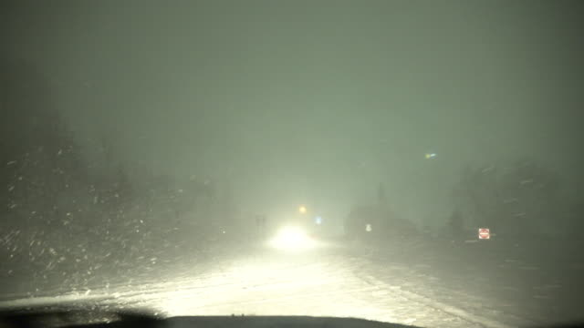 Driving In A Blizzard At Night, Whiteout Conditions, Treacherous Travel - Car Dash POV