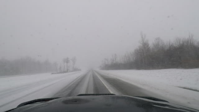 Driving In A Blizzard, Whiteout Conditions, Treacherous Travel - Car Dash POV