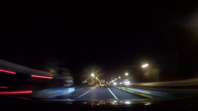 Driving in a city, time lapse