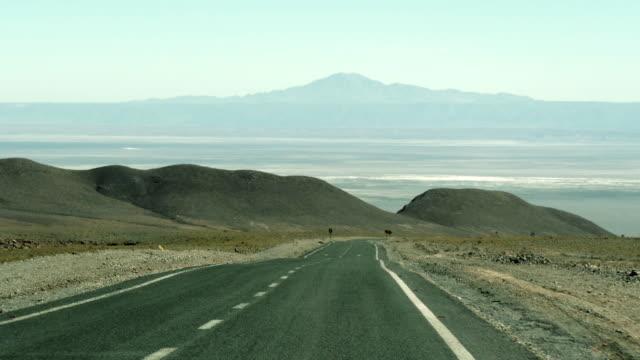 driving in a long road in the desert - san pedro de atacama stock videos & royalty-free footage