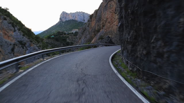 Driving in a stunning mountain road in the Pyrenees.