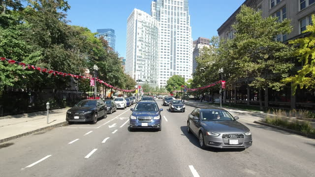 driving in boston chinatown in autumn amid the 2020 global coronavirus pandemic. - rear view stock videos & royalty-free footage