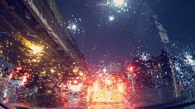 driving in brooklyn in heavy rain at night - windscreen stock videos & royalty-free footage