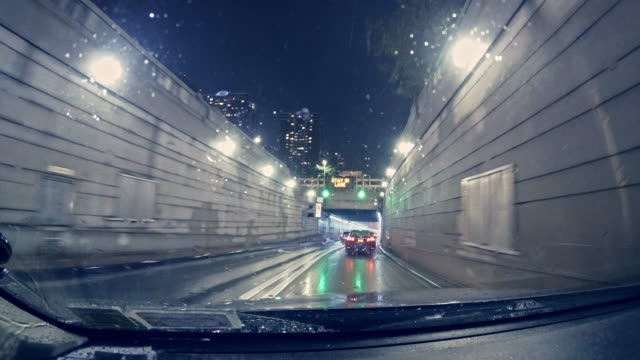 Driving in Holland Tunnel, from Driver Point of View - exiting the tunnel to Jersey City, New Jersey.