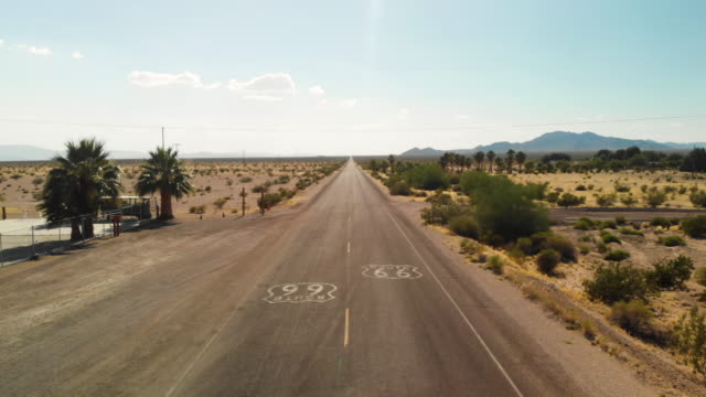 vidéos et rushes de pov driving in joshua tree desert route 66 - route 66