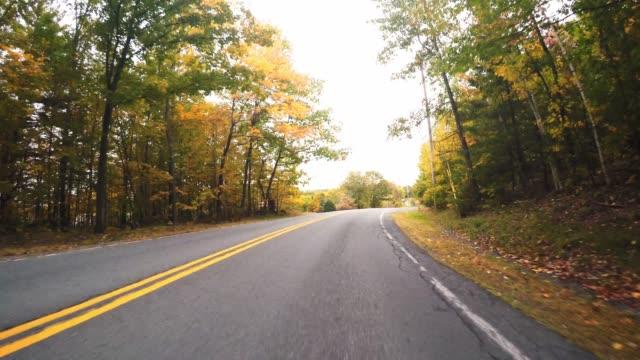 vídeos de stock e filmes b-roll de driving in new england for the autumn season - sinal de estrada