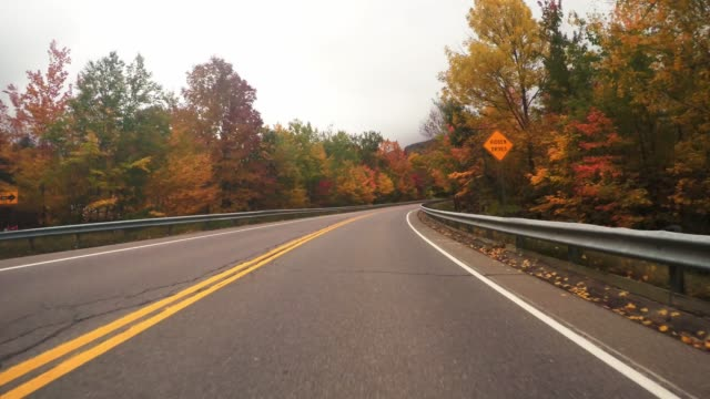 driving in new england for the autumn season - country road stock videos & royalty-free footage