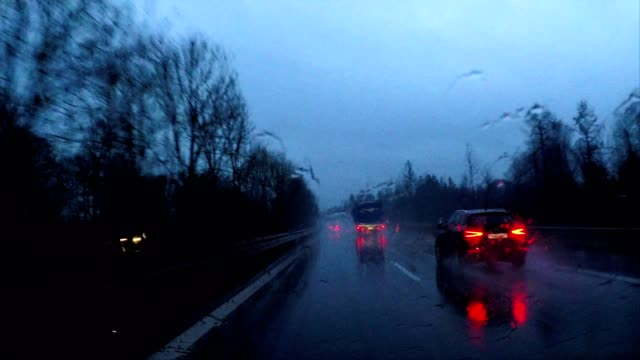 driving in rain at night through a dark forest in winter, germany, europe - nass stock-videos und b-roll-filmmaterial