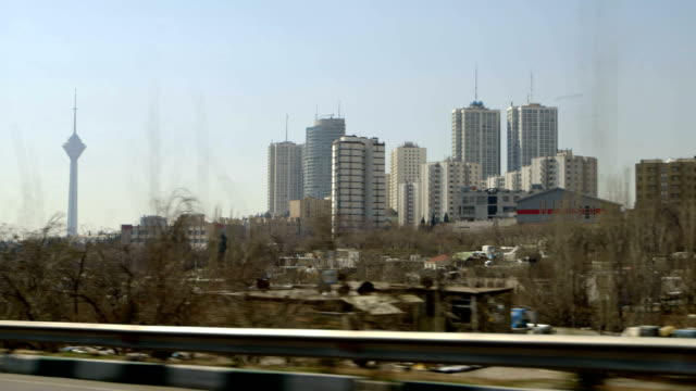 driving in tehran, milad tower - tehran stock videos and b-roll footage
