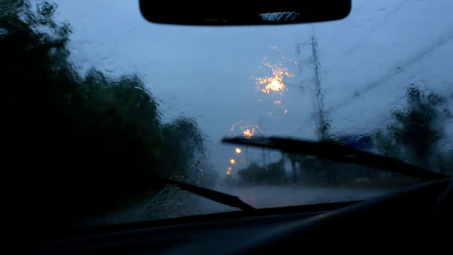 Driving in the heavy rain.