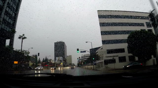 Driving in the rain from street to parking lot