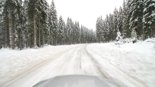 hd time-lapse: driving in the winter - named wilderness area stock videos & royalty-free footage