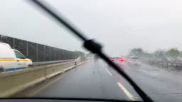 Driving in Torrential Rainstorm