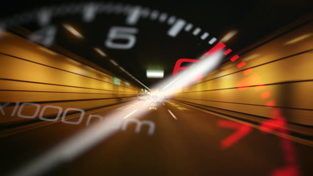driving in tunnel and rev counter - speedometer stock videos & royalty-free footage