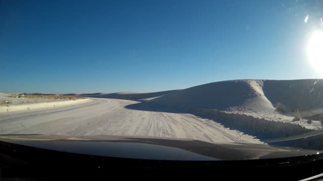 POV of driving in White Sands national monument