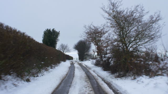 Driving in winter conditions. Country Road.