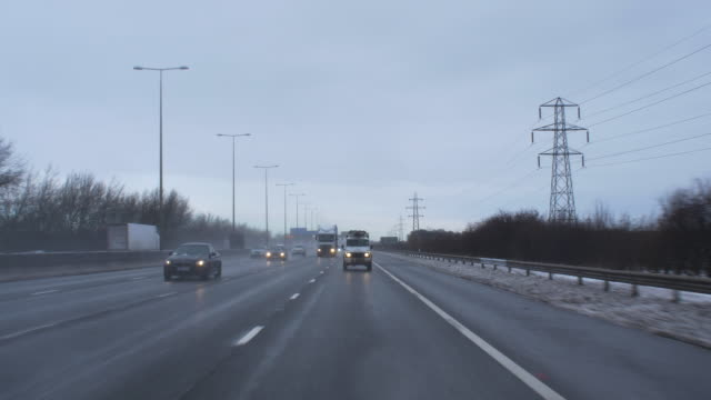 Driving in winter conditions. On motorway.