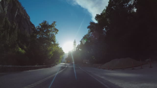 pov driving in yosemite national park, tioga pass - igneous stock videos & royalty-free footage