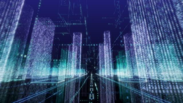 fahrt ins stadtbild-hologramm mit binärcode in der luft - maschinelles lernen stock-videos und b-roll-filmmaterial