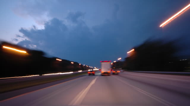 driving into night - articulated lorry stock videos and b-roll footage