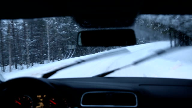driving motion falling snow forest road winter spruce trees finland - 横滑り点の映像素材/bロール