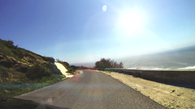 Driving on a coastal road