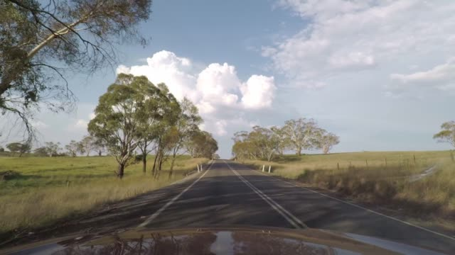 vídeos de stock e filmes b-roll de driving on a country road in rural new south wales, australia - para brisas