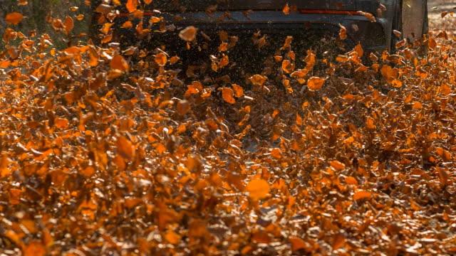 vidéos et rushes de conduite sur une feuille couverte route en automne - air vehicle