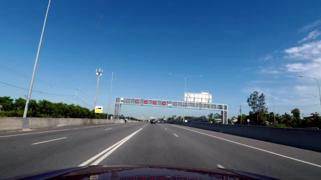driving on a motorway towards brisbane - car point of view stock videos & royalty-free footage