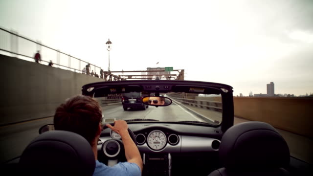 over the shoulder driving pov on bqe in brooklyn, over brooklyn bridge to manhattan, onto fdr drive - convertible stock videos & royalty-free footage