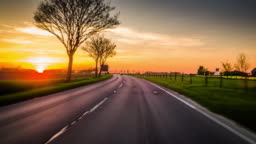 Driving on Country Road at Sunset