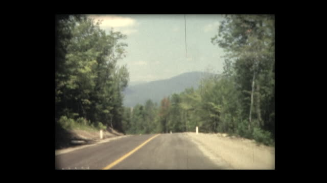 1966 driving on country road in new hampshire - country road stock videos & royalty-free footage