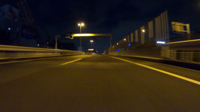 driving on highway at night / rear view - asfalto video stock e b–roll