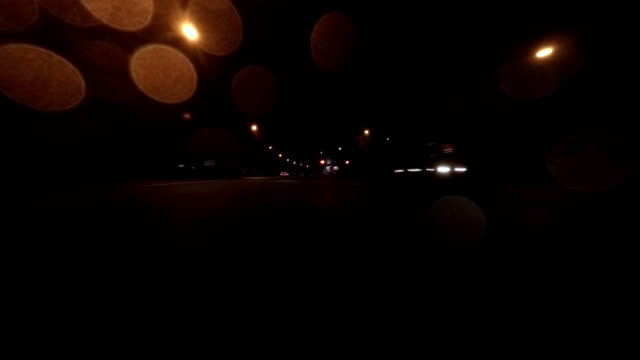 Driving on highway at rainy midnight - 4K-