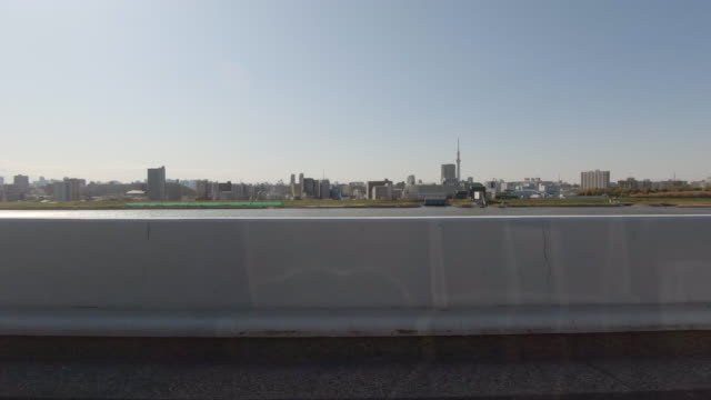 driving on highway / side view from car / tokyo sky tre - roadside stock videos & royalty-free footage