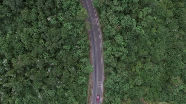 driving on hill route aerial shot - single track stock videos and b-roll footage