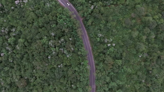 driving on hill route aerial shot - long stock videos and b-roll footage