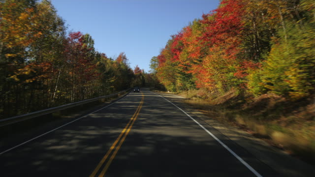 T/L POV Driving on Kancamagus Highway, Autumn / New Hampshire, USA