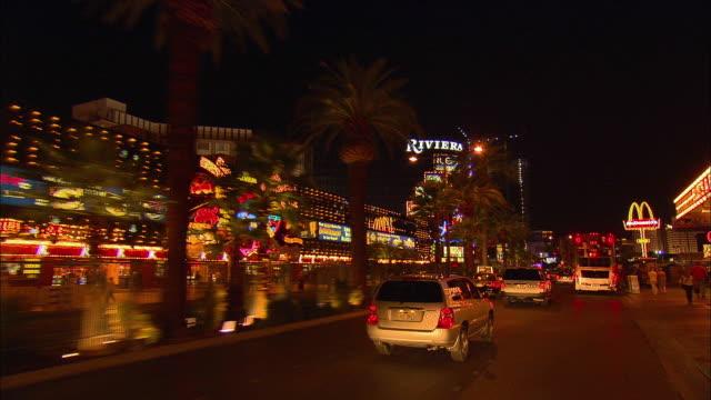 POV, Driving on Las Vegas Boulevard at night, Las Vegas, Nevada, USA