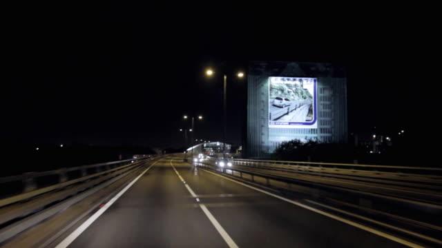 pov driving on m25 motorway at night / london, united kingdom - m25 video stock e b–roll