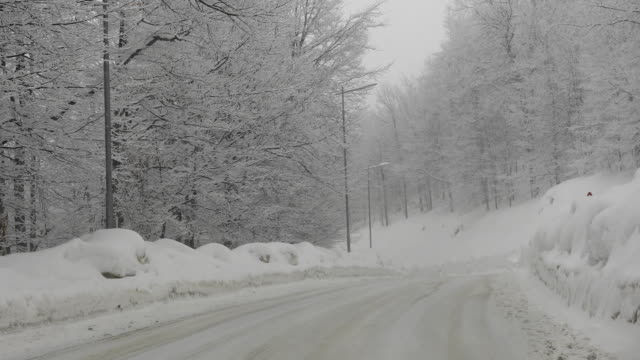 Driving on mountain road in winter