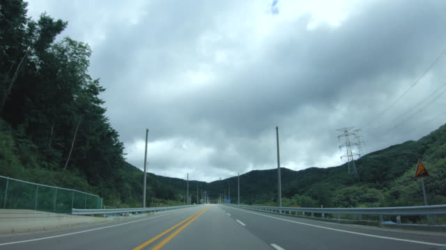 driving on national road / pyeongchang-gun, gangwon-do, south korea - car point of view stock videos & royalty-free footage
