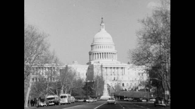 pov driving on pennsylvania avenue to us capitol building; 1964 - senate stock videos & royalty-free footage