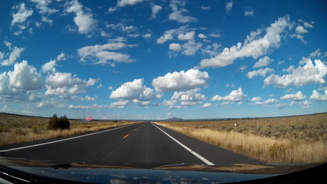 Driving on remote highway in the US